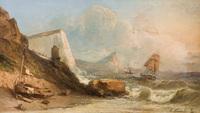tablou andre foneche - sailboats near cliffs