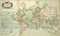 tablou map of the world, 1702