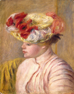 tablou renoir - young woman in a flowered hat, 1892