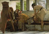 tablou lawrence alma tadema - a roman studio, 1874
