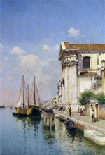 tablou a venetian canal with santa maria della visitazione and santa maria del' rosario