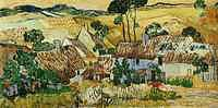 tablou van gogh - thatched houses against a hill, 1890
