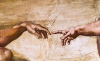 tablou Michelangelo - creation of adam, detail (2)