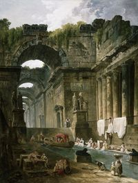 tablou hubert robert - ruins of a roman bath with washerwomen.