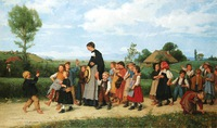 Tablou canvas albert anker - school walk, 1872