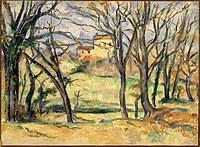 tablou paul cezanne - trees and houses near the jas de bouffan, 1885