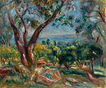 tablou Renoir - cagnes landscape with woman and child, 1910