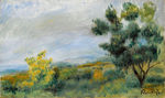 Tablou canvas renoir - landscape with trees and the sea, 1900