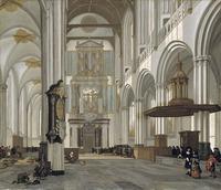 tablou emanuel de witte - interior of the nieuwe kerk, amsterdam, 1657