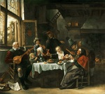 tablou jan steen - as the old ones sing, so the young ones pipe