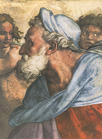 tablou michelangelo - prophet ezekiel, sistine chapel (detail)
