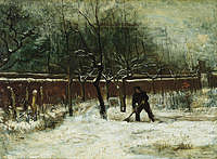 tablou van gogh - the parsonage garden at nuenen in the snow, 1885