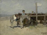 Tablou canvas anton mauve - donkey stand on the beach at scheveningen, 1876