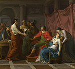 tablou jean joseph taillasson - virgil reading the aeneid to augustus and octavia