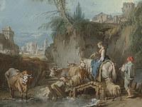 tablou francois boucher - landscape with shepherdess