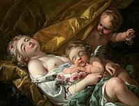 tablou francois boucher - venera and cupid (1761)