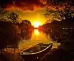 tablou Apus de soare in Amsterdam
