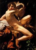 tablou Caravaggio -Saint John the Baptist (Youth with a Ram) (1602)