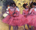 tablou Degas-Dancers in pink between the scenes