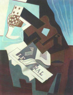 tablou Juan Gris - Still Life with guitar, book and newspaper