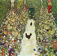 Tablou canvas Gustav Klimt - garden walkway with chickens (1916)