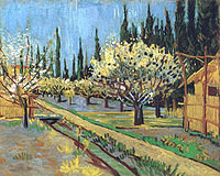 tablou van gogh - orchard in blossom, bordered by cypresses (2), 1888