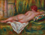 Tablou canvas renoir - reclining nude, 1909