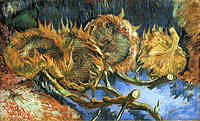 Tablou canvas van gogh - still life with four sunflowers, 1887