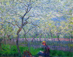 tablou claude monet   an orchard in spring, 1886