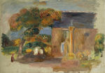 tablou renoir - landscape at bretagne, the house and the altair, 1902