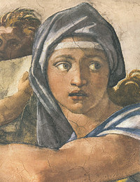 Tablou canvas michelangelo - delphic sibyl, sistine chapel (detail)