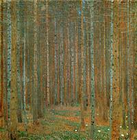 tablou Gustav Klimt - pine forest (1902)