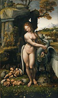 tablou francesco melzi - leda and the swan, 1508