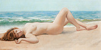 tablou john william godward - naked in the sand, nud, 1922
