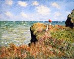 tablou claude monet   stroll at the rocks of pourville sun