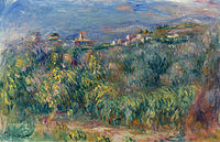 Tablou canvas pierre auguste renoir - landscape at provence, cagnes, 1910