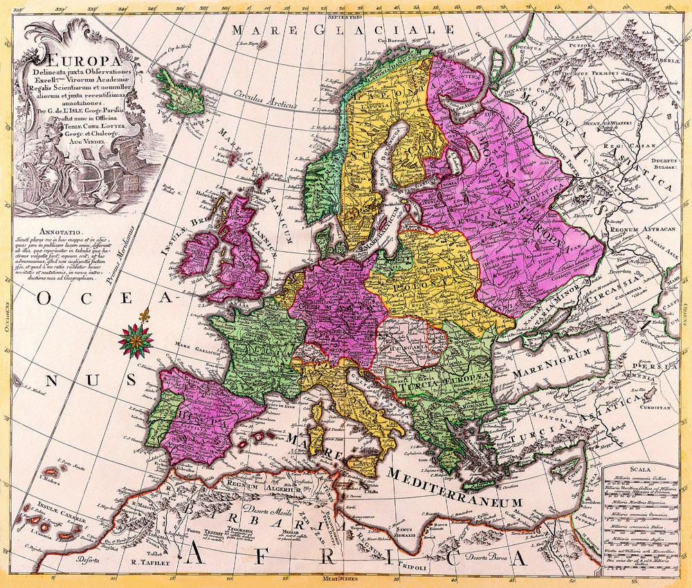 Tablou Canvas Harta Antica Europa 1760 Tablouri Harti Antice