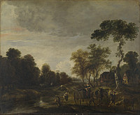 tablou aert van der neer - an evening landscape with a horse and cart by a stream