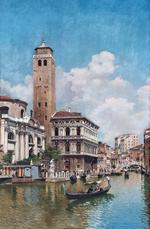 tablou gondolas on a venetian canal 1905