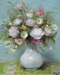 tablou marcel dyf - roses in opaline vase