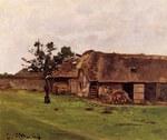 tablou claude monet   farm near honfleur, 1864