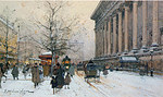 tablou eugene galien laloue - la madeleine in winter, paris