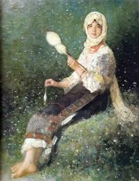 tablou nicolae grigorescu -  taranca torcand (1)