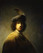 tablou rembrandt - autoportret in a beret (1629)