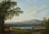 tablou jacob philipp hackert - view of the sele and the massif of the monti alburni (1788)