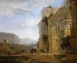 tablou nicolas berchem - italian landscape with ruins