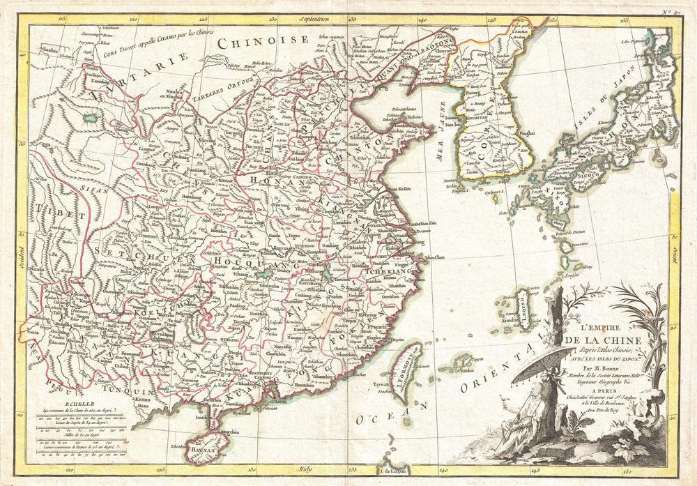 Tablou Canvas Harta Antica China Korea Japan 1770 Tablouri