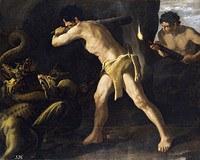 tablou francisco de zurbaran - cycle of hercules. battle hercules lerna hydra (1634)
