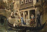 tablou vasily kotarbinsky - dignitaries boarding a gondola on a venetian backwater