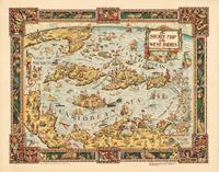 tablou harta veche west indies (america centrala), 1936